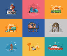 Abstract Seaside Coast Landscapes. Beach Resort Town Places And Infrastructure Spot Illustrations For Tourist Travel Agency UI Applications. Summer Sea Vacation Activities Concept Scenes And Cards.