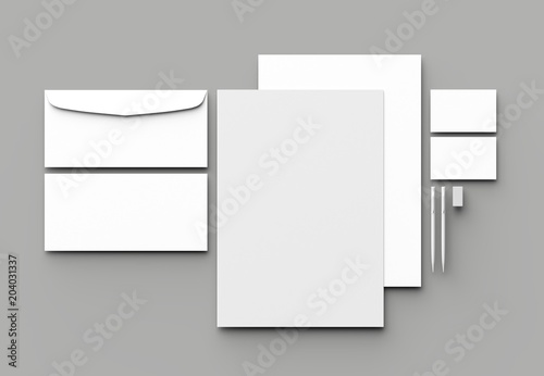 Fotografia Corporate identity stationery mock up isolated on gray background
