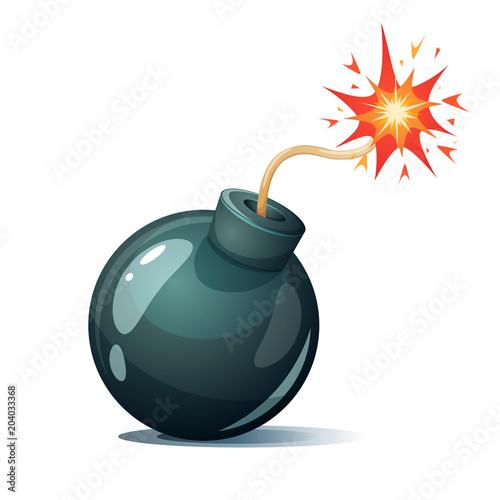 Photo  Cartoon bomb, fuse, wick spark icon Vector eps 10
