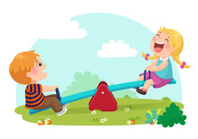 Cute Kids Having Fun On Seesaw At Playground