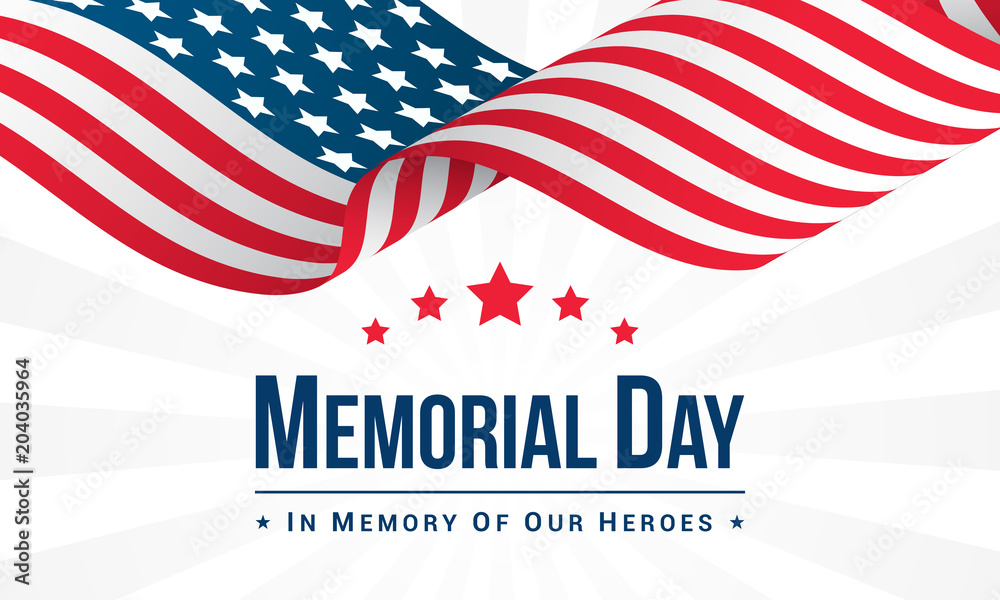 Fototapety, obrazy: Memorial Day Background Vector illustration, USA flag waving with text.