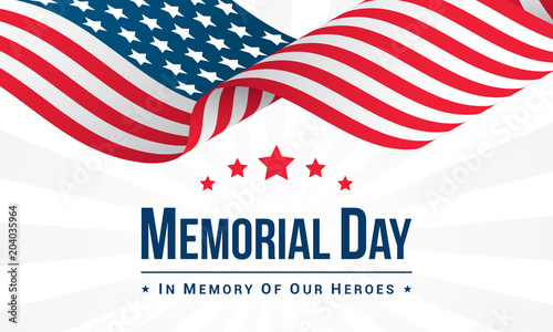 Fotomural Memorial Day Background Vector illustration, USA flag waving with text
