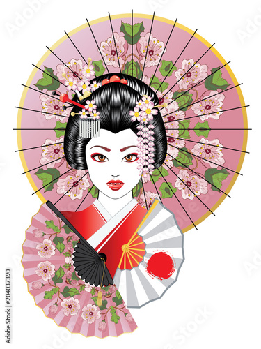 Geisha with Fan and Umbrella Fototapet