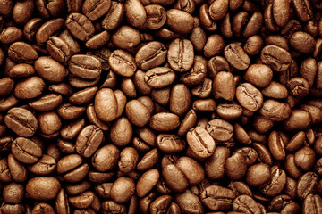 Panel Szklany Kawa Roasted Coffee Beans background texture.
