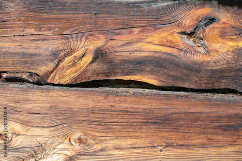 Foto op Canvas Zalm Old wood structure, wood pattern, plank, board. 200 years old wooden wall. Sharp, good visible growth rings, parallel lines and curves