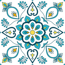 Portuguese Tile Pattern Vector With Floral Ornaments Motifs. Portugal Azulejo, Mexican Talavera, Spanish, Italian Majolica Or Moroccan Ceramic Texture For House Bathroom Wall Or Kitchen Flooring.