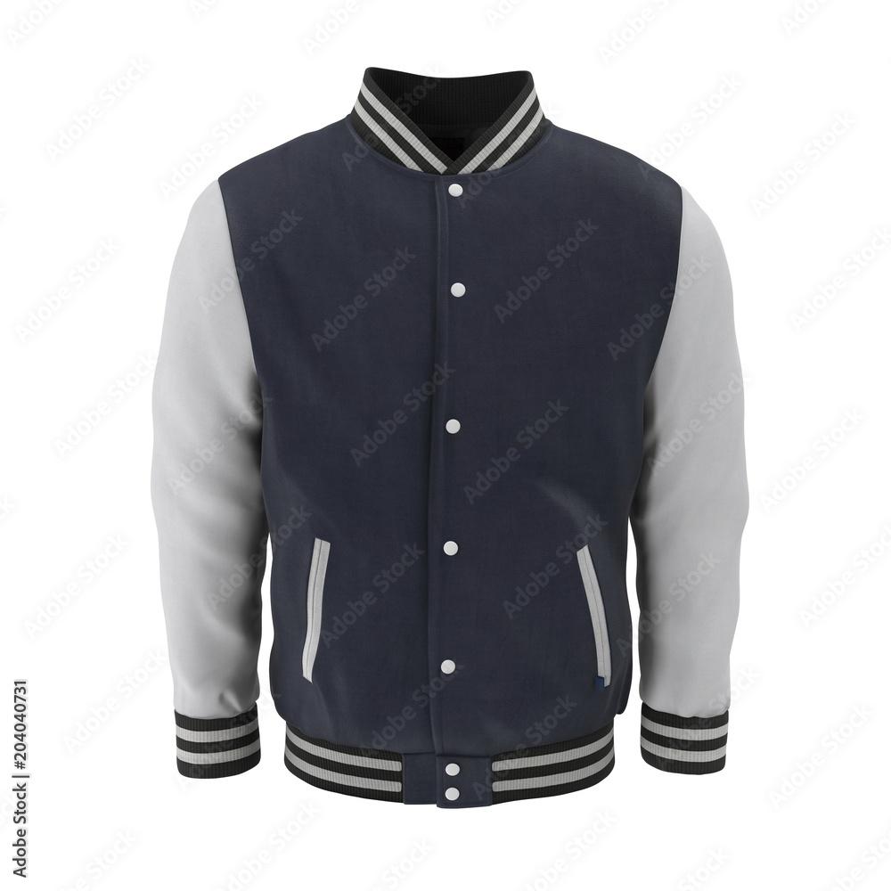Fototapeta Baseball Jacket on white. Front view. 3D illustration