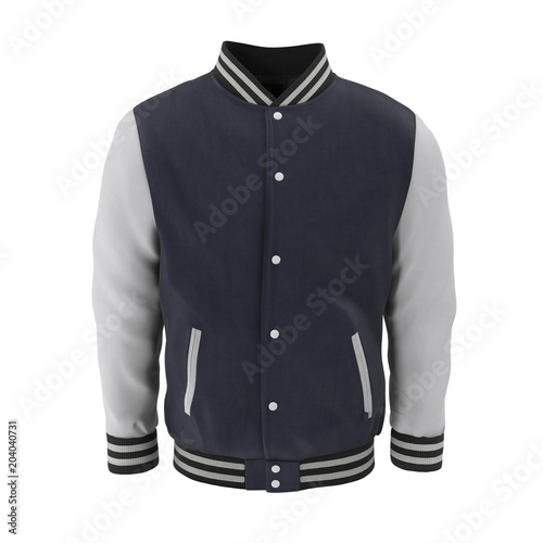 Baseball Jacket on white. Front view. 3D illustration Wall mural
