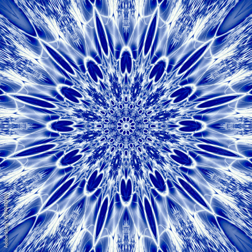 snowflake mandala sacred geometry illustration in blue ice Canvas Print