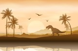Fototapeta Dinusie - Silhouette of a dinosaur in riverbank background