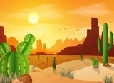 Desert landscape with cactuses on the sunset background