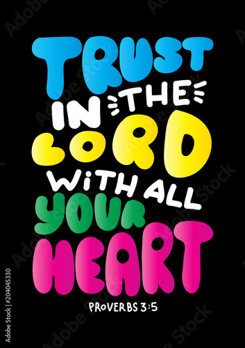 Bible Quote Trust In The Lord With All Your Heart Handwritten