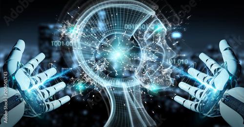 Biała cyborg ręka tworzy sztucznej inteligenci 3D rendering