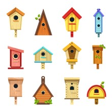 Wooden Birdhouses Of Creative Design To Hang On Tree Set