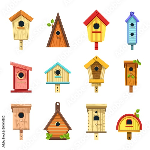 Canvas Print Wooden birdhouses of creative design to hang on tree set