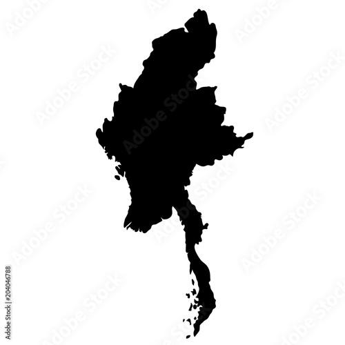 Cuadros en Lienzo black silhouette country borders map of Myanmar on white background