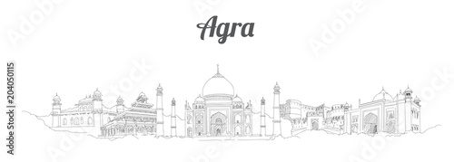 AGRA city panoramic vector hand drawing artwork Canvas Print