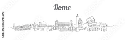 ROME city panoramic vector hand drawing artwork