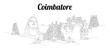 Coimbatore city vector panoramic hand drawing sketch illustration