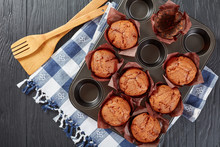 Muffins In A Steel Baking Tray