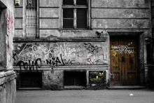 Dirty Tagged Old Tenant Houses In Poland