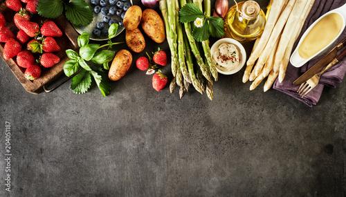Healthy fresh spring fruit and vegetable border