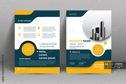 Obraz na plátně  Yellow and Gray Brochure , Flyer  with circle layout template