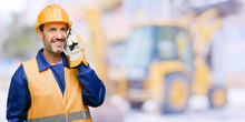 Senior Engineer Man, Construction Worker Happy Talking Using A Smartphone Mobile Phone At Work