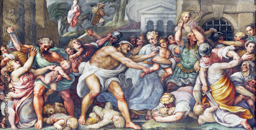 Fotografiet PARMA, ITALY - APRIL 16, 2018: The fresco of Macacre of Inocents in Duomo by Lattanzio Gambara (1567 - 1573)