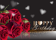 Happy Birthday Red Roses Backg...