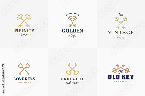 Vászonkép Vector Retro Key Emblems Set