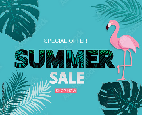 Abstract Tropical Summer Sale Background with Flamingo and Leaves. Vector Illustration © yganko