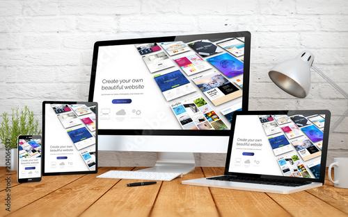 Fotografie, Obraz  website builder responsive design screen multidevices