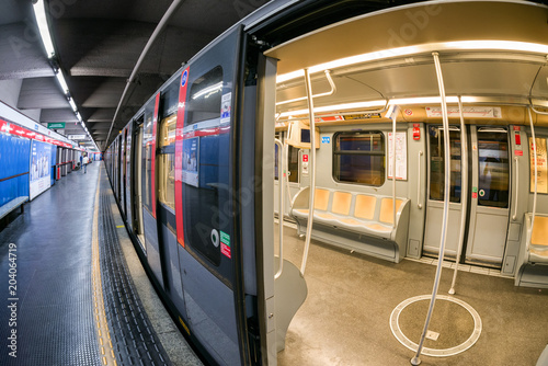 Empty train  - Subway in Milan, Italy