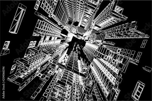 Fototapeta Modern architecture wireframe