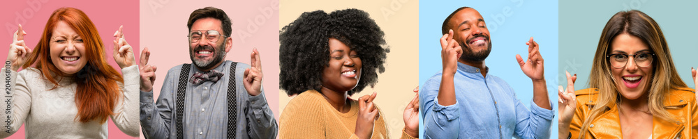 Fototapety, obrazy: Cool group of people, woman and man with crossed fingers asking for good luck