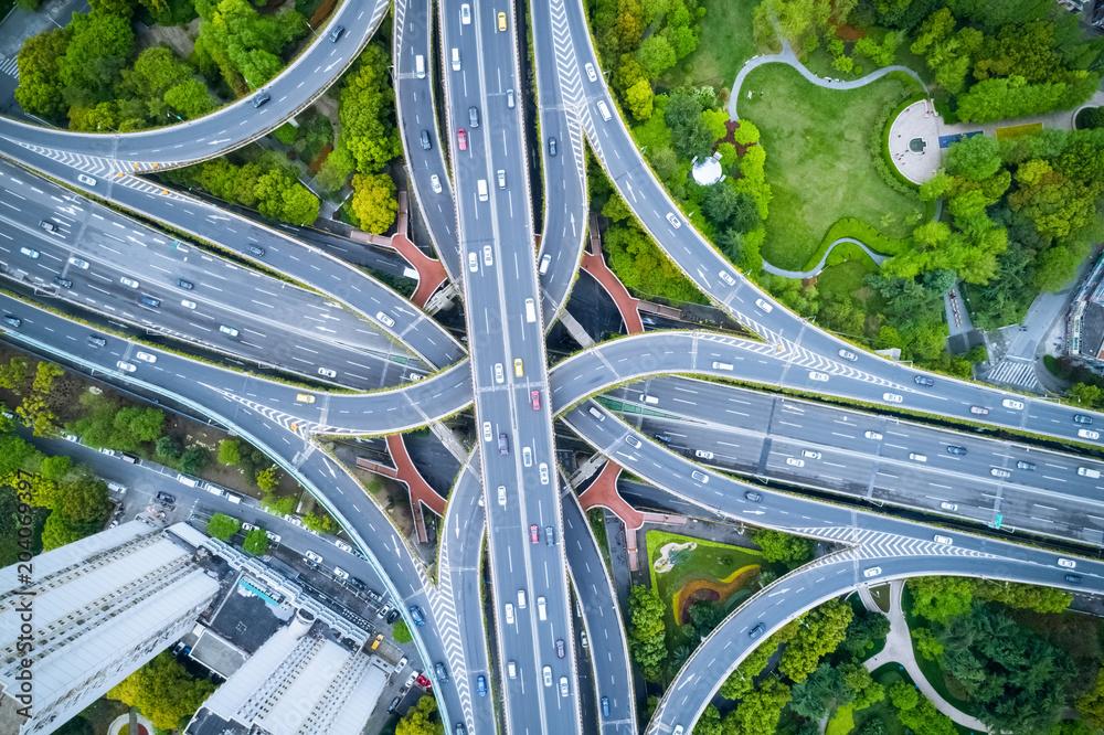 Fototapeta aerial view of city interchange