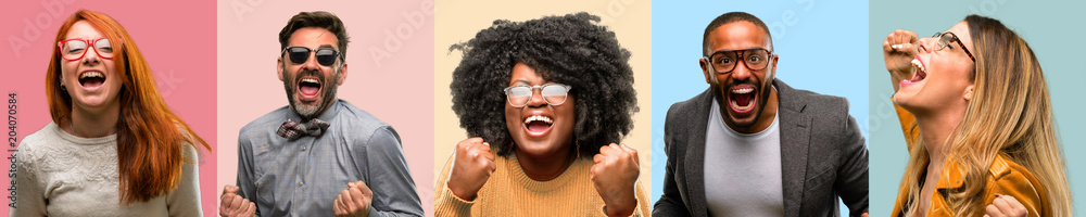 Fototapety, obrazy: Cool group of people, woman and man happy and excited celebrating victory expressing big success, power, energy and positive emotions. Celebrates new job joyful