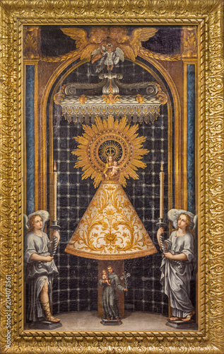 ZARAGOZA, SPAIN - MARCH 2, 2018: The painting of Our Lady of the Pillar in church Iglesia de la Exaltación de la Santa Cruz by unknown artist from 18. cent.