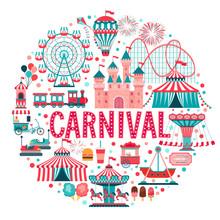 Amusement Park Concept, Circus, Carnival.