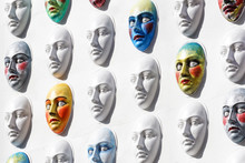 Carnival Masks Hanging On Wall...
