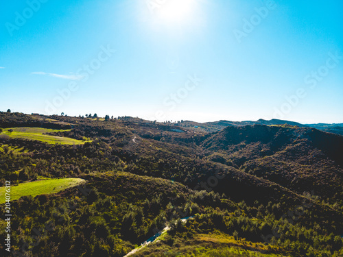 In de dag Grijze traf. Aerial view of European country forest landscape