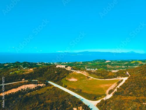 Foto op Aluminium Blauw Aerial view of rural European landscape and ocean