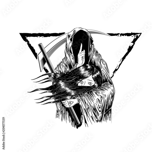 Photo  Grim Reaper, Human  Wearing A Hood, Isolated On color Background, Vector illustration