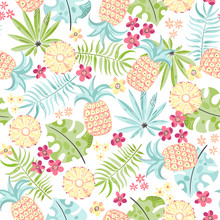 Seamless Tropical Background With Pineapple