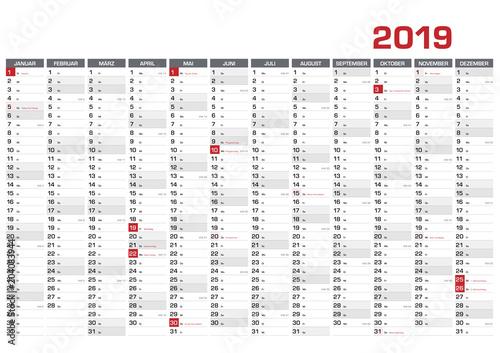 Obraz Jahresplaner DIN A1 für 2019 mit KW und Feiertagen - fototapety do salonu