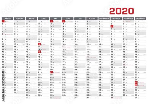 Fototapeta Jahresplaner DIN A1 für 2020 mit KW und Feiertagen obraz na płótnie