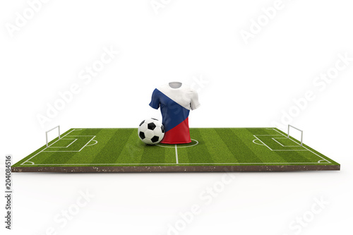 Czech Republic soccer shirt national flag on a football pitch Poster