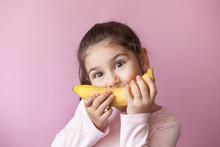 Little Girl With Yellow Banana...