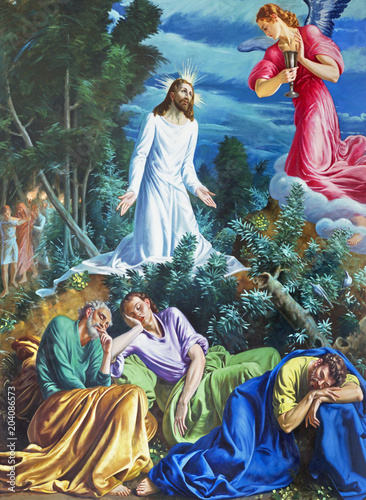PARMA, ITALY - APRIL 16, 2018: The painting of Prayer of Jesus in Gethsemane garden in church Chiesa di San Vitale by D. Pozzi (1894 - 1946).